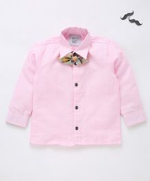 Knotty Kids Full Sleeve Shirt With Bow - Pink
