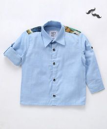 Knotty Kids Designer Patterened Back Shirt - Blue
