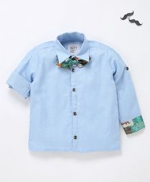 Knotty Kids Full Sleeve Shirt With Bow - Blue