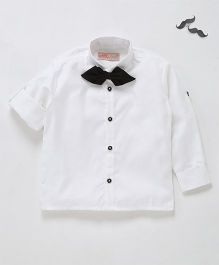 Knotty Kids Full Sleeve Shirt With Bow - White