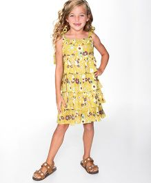 Yo Baby Floral Ruffle A Line Dress - Yellow