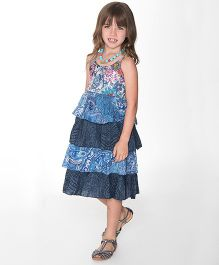 Yo Baby Floral Ruffle A-Line Dress - Blue & Navy