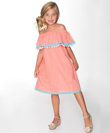 Yo Baby Strapless Dress - Coral & Blue