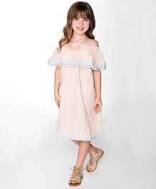 Yo Baby Strapless Dress - Peach & Blue