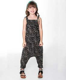 Yo Baby Wavy Stripe Jumpsuit - Black & White
