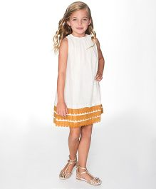Yo Baby Cute A-Line Dress - White & Tan