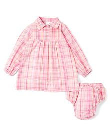 Yo Baby Plaid Shirt Dress & Diaper Cover - Pink & Yellow
