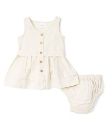 Yo Baby A-Line Dress & Diaper Cover - Tan