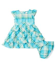 Yo Baby Plaid A-Line Dress & Diaper Cover - Turquoise & Yellow