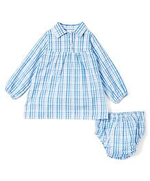 Yo Baby Plaid Shirt Dress & Diaper Cover - Blue & White