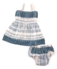Yo Baby Geometric A-Line Dress & Bloomers - White & Blue
