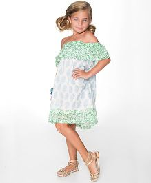 Yo Baby Off-Shoulder Dress - White & Green