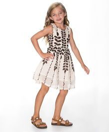 Yo Baby Classic Sleeveless Dress - Off White & Brown