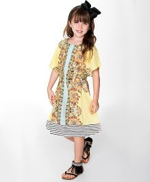 Yo Baby Floral Blouson Dress - Yellow & Brown