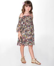 Yo Baby Floral Tiered Off-Shoulder Dress - Multicolour