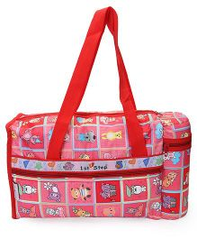 1st Step Bag With Warmer Honey Bear Print - Red