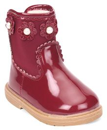 Cute Walk by Babyhug Ankle Length Boots Flower With Pearl Applique - Maroon