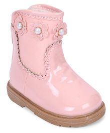 Cute Walk by Babyhug Ankle Length Boots Flower With Pearl Applique - Light Pink