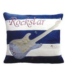 Abracadabra Square Shape Cushion Guitar Embroidery - Navy Blue