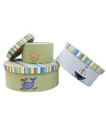 Abracadabra Round Storage Boxes Set Of 3 Whale Patch - Green