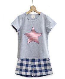 Pluie Star Design Tee & Checkered Shorts - Grey & Blue
