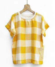 Pluie Plaid Design Woven Top - Mustard