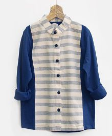 Pluie Mandarin Collar Striped Shirt - Grey & Navy Blue