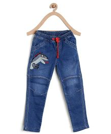 Bella Moda Dinosaur Printed Denim - Blue