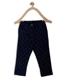 Bella Moda Small Flowers Design Denim - Blue