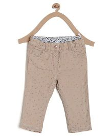 Bella Moda Solid Star Printed Denim - Cream