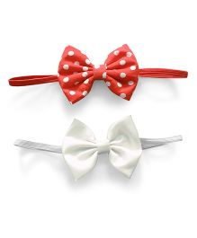 Knotty Ribbons Set Of Two Bow Headband - Red & White