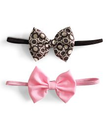 Knotty Ribbons Set Of Two Bow Headband - Black & Light Pink