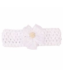 Miss Diva Stylish Ribbon Flower Soft Headband - White