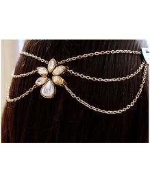 Pretty Ponytails Kundan Wedding Hair Chain - Gold and White