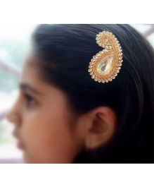 Pretty Ponytails Paisley Zardozi Flower Hair Clip - Gold