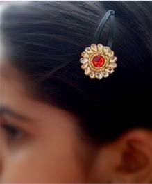 Pretty Ponytails Ethnic Floral Hair Clip - Gold & Red