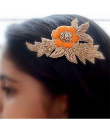 Pretty Ponytails Ethnic Zardozi Embroidered Flower Hair Clip Orange Gold - Orange Gold