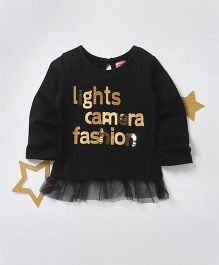 Babyhug Full Sleeves Top With Sequin And Glitter Text Print - Black