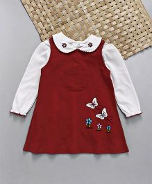 Babyhug Corduroy Frock with Inner T-Shirt Floral & Butterfly Embroidery - Red White