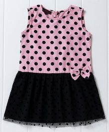 Pspeaches Polka Dot Dress With Bow Design - Pink