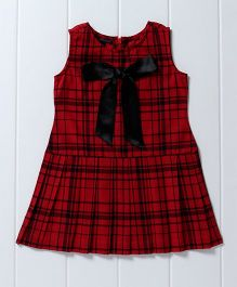 Pspeaches Cotton Plaided Skater Dress - Red & Black
