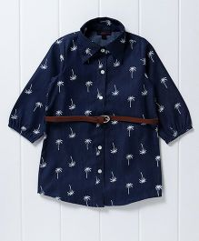 Pspeaches Palm Tree Print Denim Shirt Style Dress - Blue
