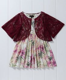 Pspeaches Printed Dress With Lace Shrug - Multicolor