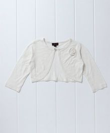 Pspeaches Stylish Full Sleeves Shrug With Flower Design - White