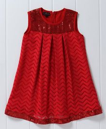 Pspeaches Sequin Design Lace Dress - Red