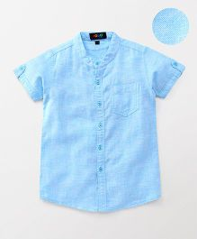 Robo Fry Half Sleeves Solid Shirt - Light Blue