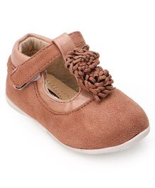 Cutewalk By Babyhug Suede Belly Shoes With Floral Applique - Brown