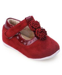 Cutewalk By Babyhug Suede Belly Shoes With Floral Applique - Maroon