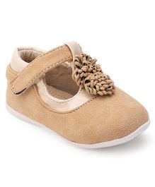 Cutewalk By Babyhug Suede Belly Shoes With Floral Applique - Straw