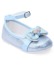 Cute Walk By Babyhug Belly Shoes Embellished Bow Applique - Sky Blue